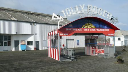 The Jolly Roger entrace was blown to the side of a nearby building Picture: CLACTON PIER