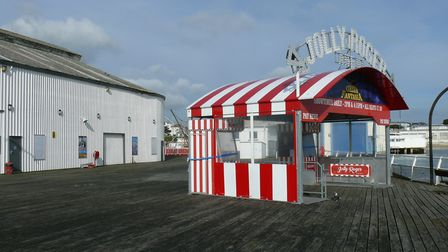 The entrance booth for the circus on the Jolly Roger Arena was blown away from its fixings at Clacto