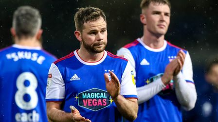 Alan Judge and James Bree at the final whistle in the defeat by Sheffield Wednesday. Picture: STE