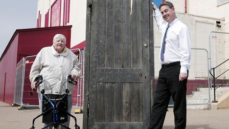 Redcar & Cleveland Borough Council of cinema manager Neil Bates and Joyce Dowding with the door that