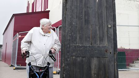 Joyce Dowding with the door that inspired Larry Grayson's famous catchphrase 'Shut that door' at the