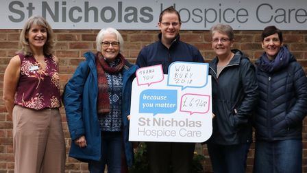 The money is presented from last year's event. Left to right: Sharon Place, Camilla Spicer, Ian Evan