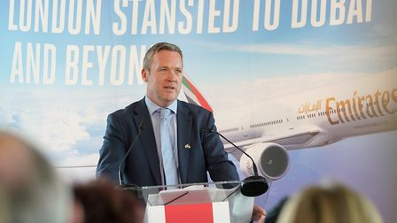 Ken O�Toole speaking at the launch of the Emirates� DXB-STN service in June 2018 Picture: STEPHEN B