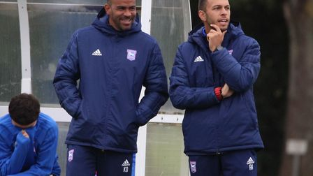 Joint U18s managers Adem Atay and Kieron Dyer Picture: ROSS HALLS