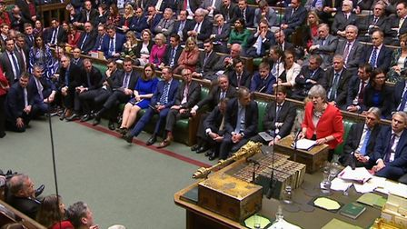 Prime Minister Theresa May speaking in the House of Commons, London, after the Governments Brexit d