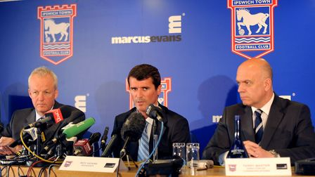 Keane, pictured with chief executive Simon Clegg and head of media Terry Baxter at his unveling in 2