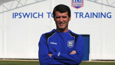 Keane, pictured on his first day in charge of Ipswich Town. Picture: ITFC