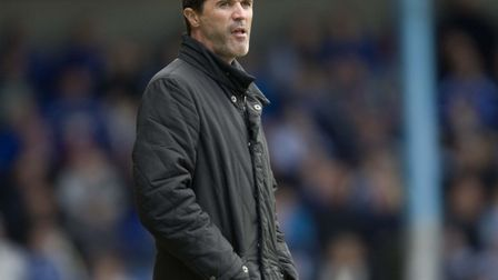 Keane, pictured on the touchline during his first game in charge of Ipswich at Cardiff. Picture: PA