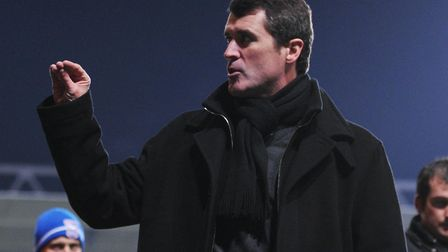 Roy Keane gestures to supporters following the 1-0 loss to Nottingham Forest in January 2011 - his f