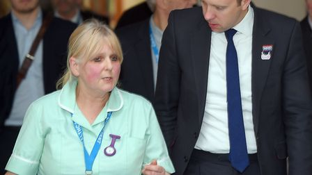 Secretary of State for Health and Social Care Matt Hancock MP speaks with healthcare assistant on So