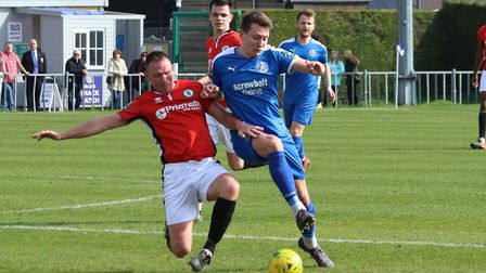 Leiston's Christy Finch, right, went closest in their defeat to St Ives Town. Photo: JOHN HEALD