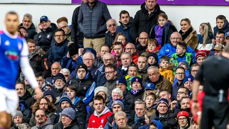 Town fans watch on against Forest. Picture: STEVE WALLER