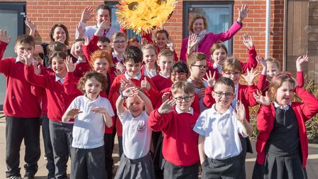 Children at Sebert Wood Primary School with the art wheel for the sculpture Picture: CAROL STREET