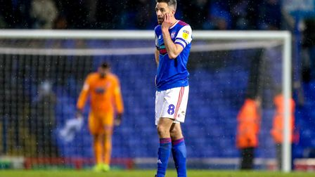 Cole Skuse pictured after Town's defeat at the hands of Sheffield Wednesday. Photo: Steve Waller