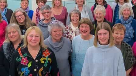 Andrea King (front left), director of the Upbeat Contemporary Choir, with Molly Marshall (front righ