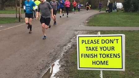 Runners approach the finish of the Rickmansworth parkrun last Saturday, where they are given a token