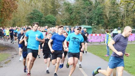 The leaders are well into their stride at the start of last Saturday's Rickmansworth parkrun. Pictur