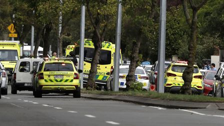 The emergency response to the shootings in Christchurch Picture: AP/MARK BAKER