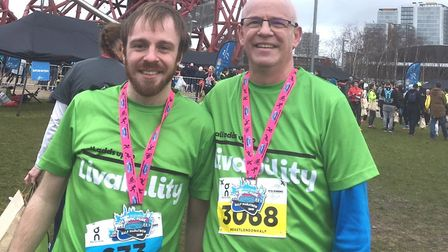 David Swales, right, with his son, Ben, at the 2019 East London Half Marathon Picture: SUPPLIED BY F