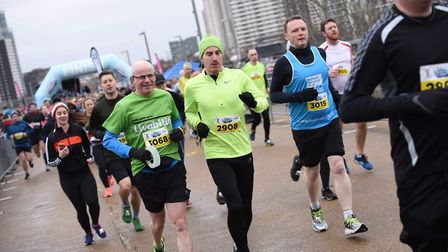 David running the East London Half Marathon with a guide runner Picture: SUPPLIED BY FAMILY