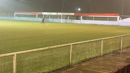 The wet and rather dreary scene before kick-off when Heybridge Swifts visited the Len Salmon Stadium
