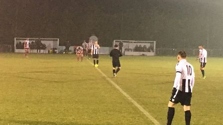 Bowers & Pitsea and Heybridge Swifts are ready to kick off, on a damp January evening two years ago.