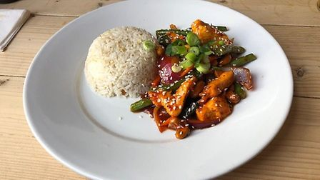 Mark's main at Mings Oriental - Mings Capital Chicken. Perfectly cooked chicken, with a good shot of