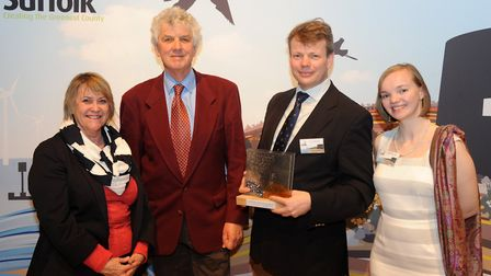 The Suffolk Creating the Greenest County Awards 2016 - broadcaster Paul Heiney (centre) Nicola Corbe