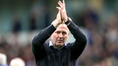 Town manager Paul Lambert applauds fans after Town's 1-1 draw against Nottingham Forest. Picture: