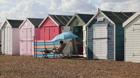 Relaxing at the Beach Hut in Felixstowe Picture: MICK WEBB