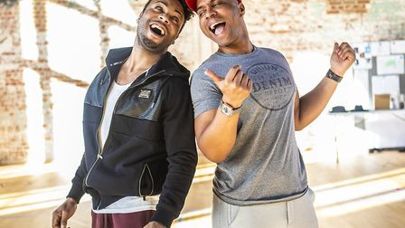 Wayne Robinson & Adrian Hansel in rehearsals for Ain't Misbehavin' at Colchester Mercury Photo Pame