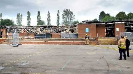 The Castle Hill Middle School building in haverhill was destroyed by a fire in 2012. PIcture: GREGG