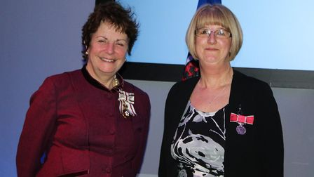 Lord Lieutenant of Suffolk, Lady Clare Euston with British Empire Medal recipient Virginia Shoesmith