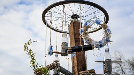 A bird feeder made out of a recycled tyre and recycled plastic bottles Picture: Thinkstock/PA