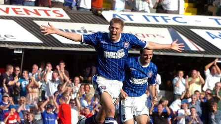 Jon Stead celebrates his debut goal for Ipswich in the 2-0 win against Reading in 2008