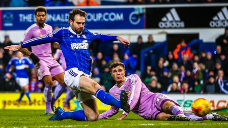 Brett Pitman scores the winner for Ipswich Town in the Ipswich Town v Reading (Championship) footbal