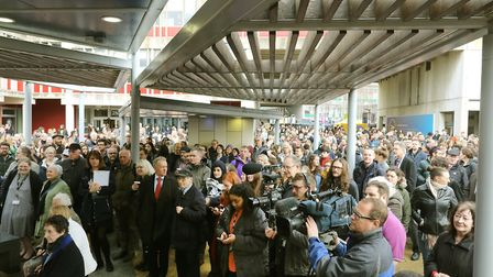 Hundreds of people gathered to show solidarity at the University of Essex Picture: STEVE BRADING