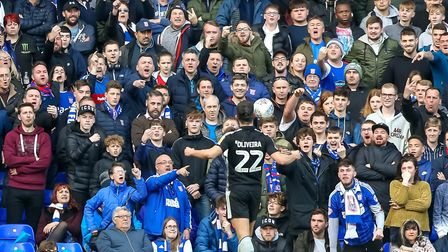 Nelson Oliveira celebrates in front of the unimpressed Town fans, after putting the visitors into a