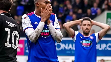 Collin Quaner and Cole Skuse react after the German had missed a late chance. Picture: Steve Wall