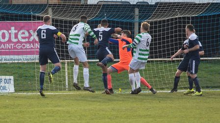 Cyrus Thorpe pulls one back for Framlingham at Millfield on Saturday Photo: HANNAH PARNELL