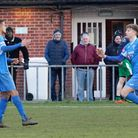 William Davies, right and Noel Aitkens, both had chances for Leiston at Stourbridge. Picture: PAUL