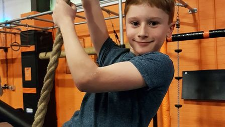 Sam Ford, 8, is training at least three times a week for his mountain climb Picture: RACHEL EDGE