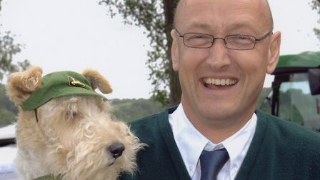 Robert Tomlinson and his late fox terrier Toby at The Hadleigh Show in about 2007 Picture: ARCHANT