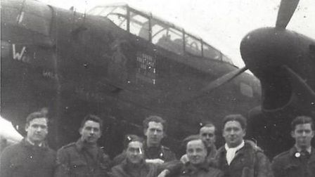 Des's 625 Squadron crewmates, and some ground crew, in front of the Lancaster bomber they named Wee