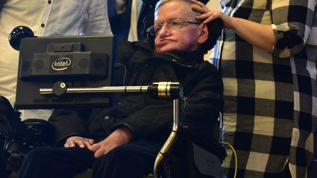 Professor Stephen Hawking on his visit to the Kesgrave Community Centre to visit the Headway confere