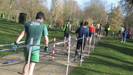 Runners walk through the finish funnel after completing Saturday's Ipswich parkrun. Picture: IPSWICH