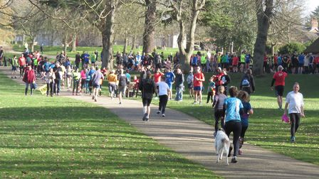 Runners disappear into the distance after the start of Saturday's Ipswich parkrun.Picture: IPSWICH P