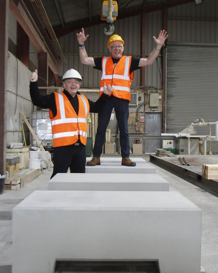 From left, Tim Evans and Norman Lloyd on the Elmer plinths made by Poundfield