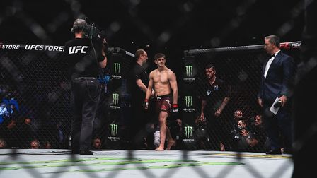 Arnold Allen enters the octagon ahead of his career-best performance at UFC London. Picture: BRETT K