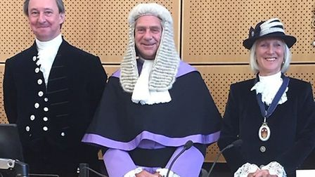 The outgoing High Sheriff of Suffolk George Vestey, left, Judge Martyn Levett and Suffolk's new High